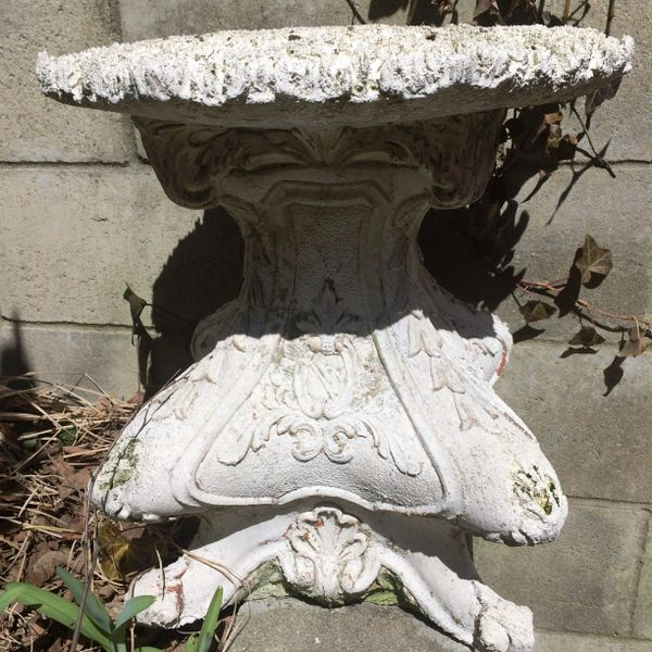 Victorian Style Weathered Terracota Plant Stand with Ornate Design