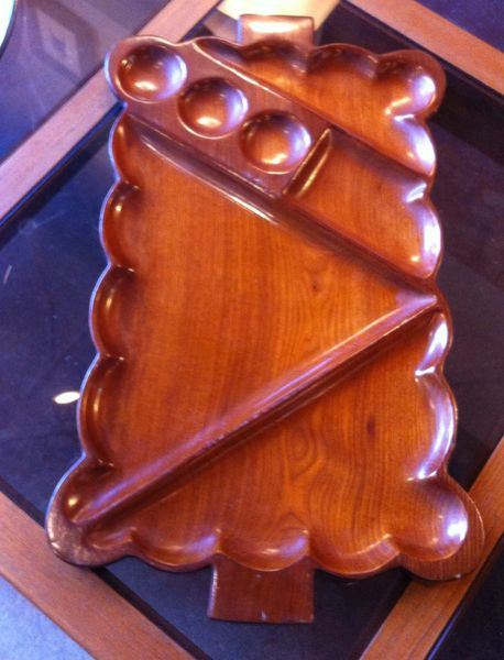 Danish Teak Serving Tray, Rectangular with Scalloped Edges