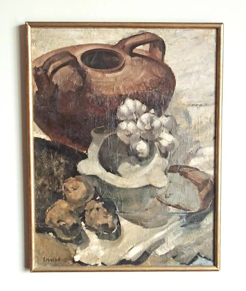 Framed Oil On Canvas Still Life by Rene' Levard 1872-1938