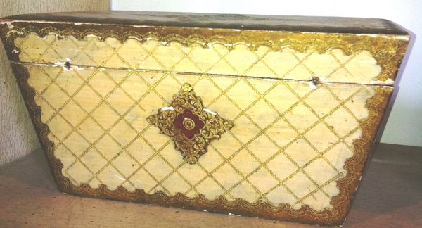 Italian Venetian Wood and Gilt Painted Tea Casket