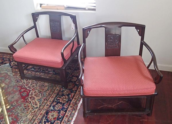 Hollywood Regency James Mont Style Pair of Vintage Chinese Rosewood Chairs