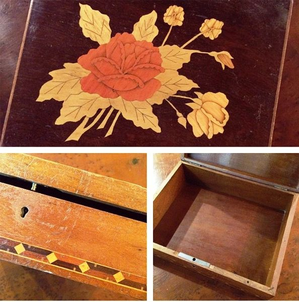 Italian Vintage Tea Box, Inlaid with Rose Marquetry Work