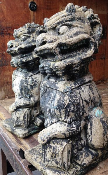 Foo Dogs, Large Vintage Pair with Worn Black Paint, 1950's