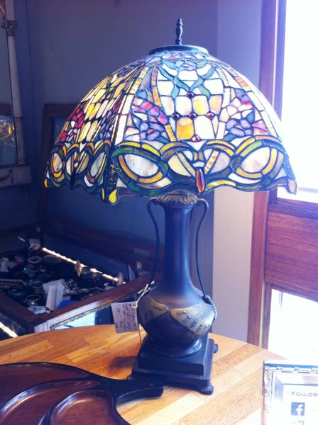 Arts & Crafts 1920's Antique Tiffany Style Lamp, Hand Crafted, Leaded Glass, Copper, Bronze, Cast Iron