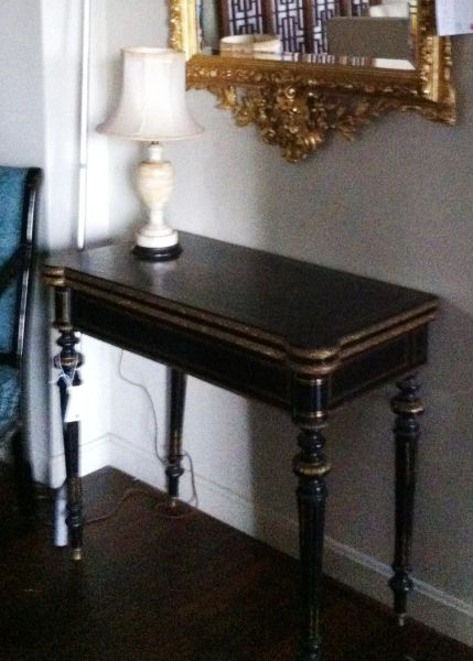 French Louis XV Ebonized Game Table w/ Inlaid Brass and Ormolu Accents