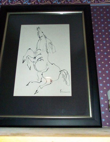 Framed Ink Drawing of Horse by Frank Eliscu, Signed