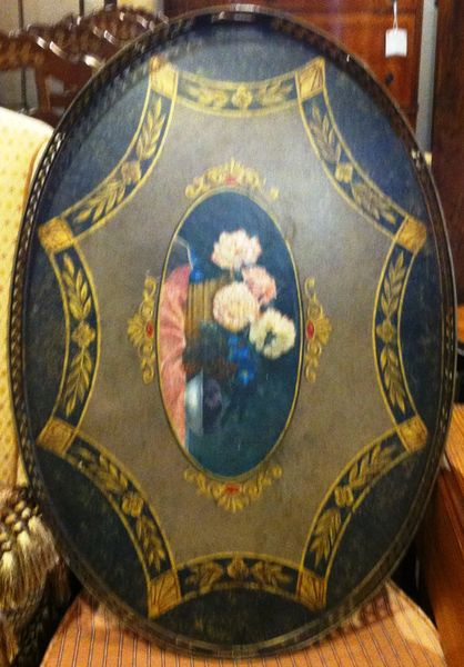 Antique Hand Painted Tole Serving Tray, Large Size