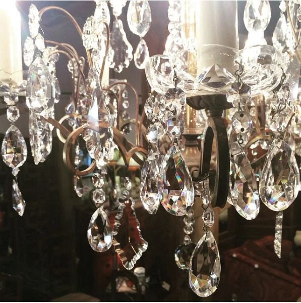 French Antique Bronze Chandelier with Hand Cut Crystals