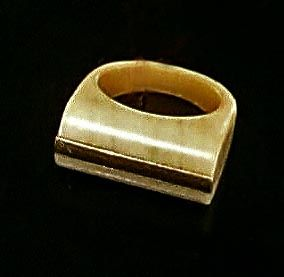 Art Deco Antique Ivory Ring With 10Kt Middle Bar of Yellow Gold. Hand Carved.