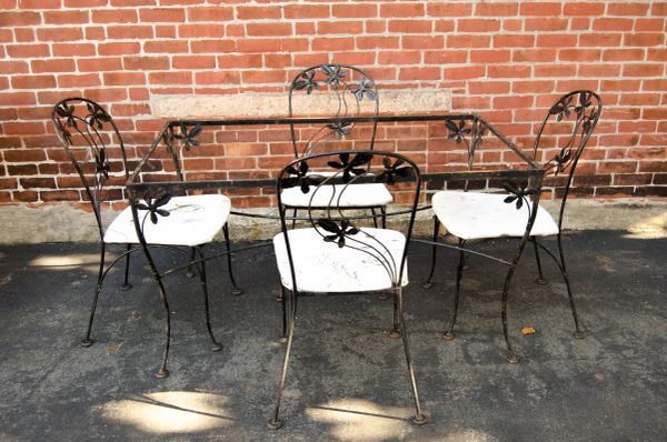 Black Wrought Hand Iron Dining Set