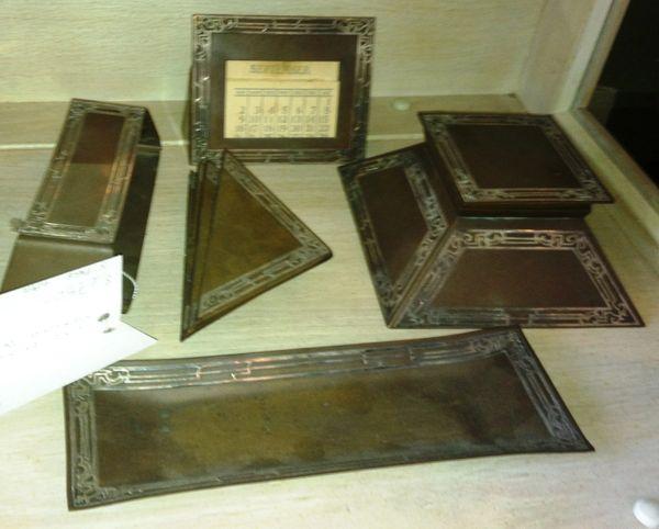 Heinz 5-Piece Sterling Silver and Bronze Desk Set