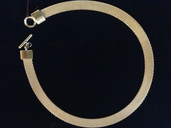 Goldtone Mesh cChoker Necklace with Toggle Clasp