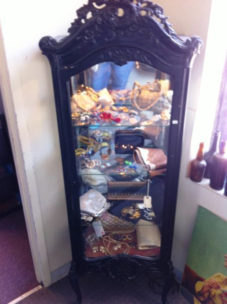 French Provincial Style Ornate China Cabinet with Interior Lighting, Glass Shelves