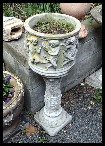 Concrete Garden Planter, Lovely Greek Dancing Scene on Intricate Base, Vintage