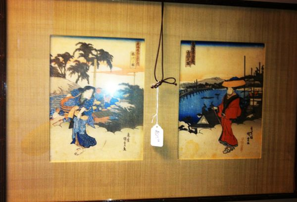 Framed Double Asian / Japanese Block Prints of Geishas, Linen Mat, Carved Wood Frame