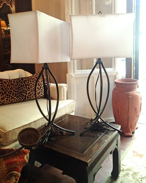 French Jean Royere Style Pair of Mid-Century Iron Table Lamps w/Tripod Base