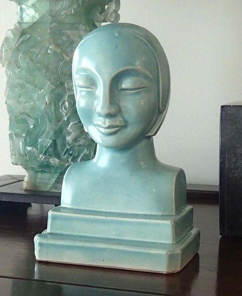 Oriental Art Deco Period Metropolis Style Bust, Marked Japan