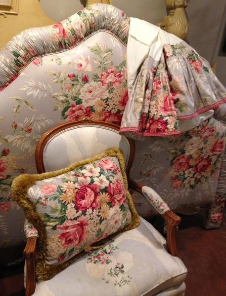 Headboard, Dust Ruffle and Down Throw Pillow, Custom Crafted with Schumacher Chintz Fabric
