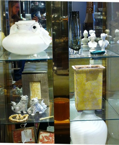 1980's Lighted Glass and Polished Brass Display Case. Mirrored Back.