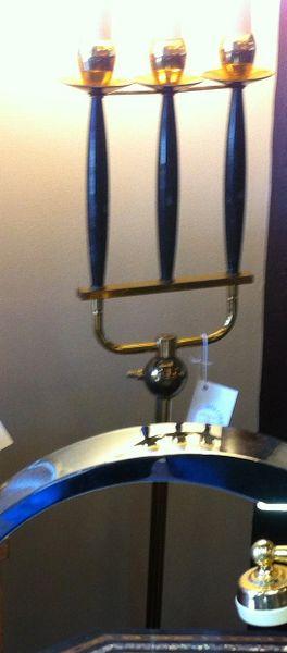 Mid-Century Pitchfork Style Brass Floor Lamp