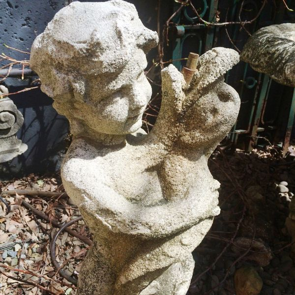 Victorian Antique Garden Putti w/ Dolphin Fountain
