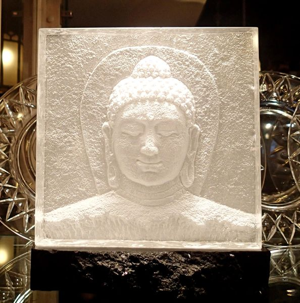 Cast Glass Buddha on Stone Pedestal By Steven Weinberg