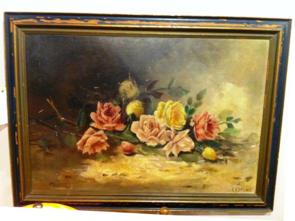 Framed American Victorian Antique Still Life by O. Henss, Original Frame