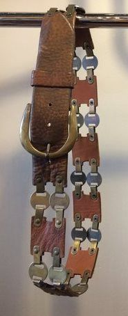 1970's brass and leather belt