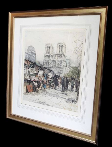 Framed Paris Scene Print w/Signature or Writing