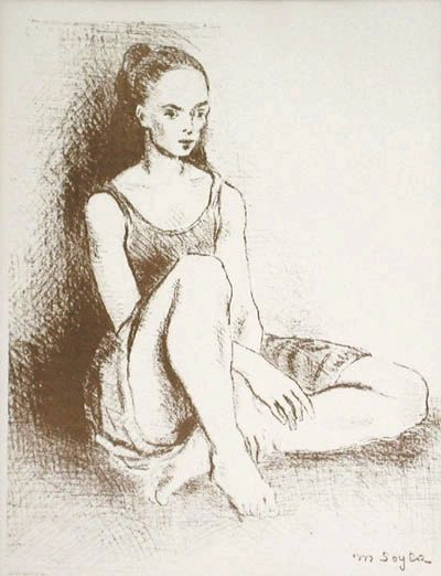 """Framed lithograph """"Ballet Dancer"""" by Moses Soyer circa 1960"""