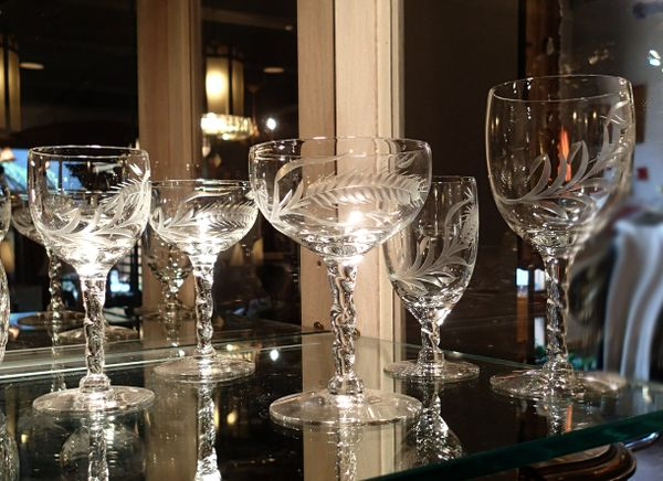 Large Set of Vintage Cut Crystal Glassware
