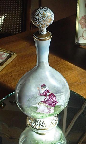 Russian Hand Painted Antique Ceramic Decanter