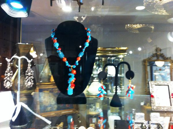 Kenneth Lane Hand Crafted Beaded Necklace and Earring Set, Turquoise, Coral, Chalcedony