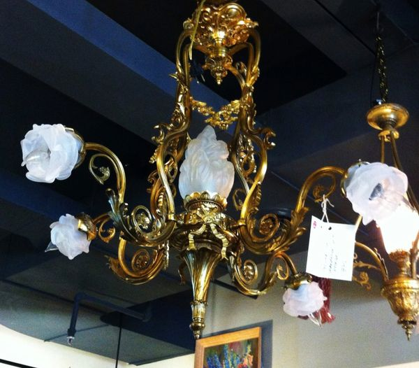 Gilt Bronze Chandelier with Frosted Rose Lamps