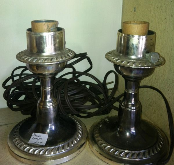 Candlestick Side Lamps in Silver