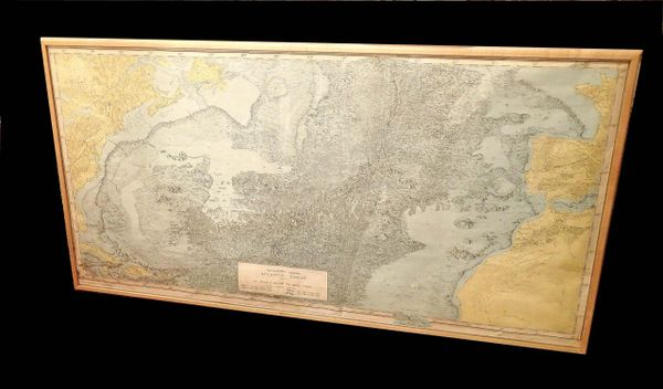 Atlantic Ocean Physiographic Diagram Map, Framed