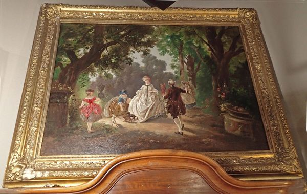 Framed Large 1800's Oil on Canvas, French, Aristocracy in Garden Scene, Heavily Gilded Frame