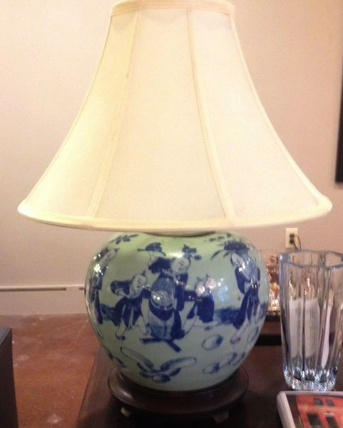 Chinese Blue and White Ginger Jar Mounted as a Lamp with Figural Decoration