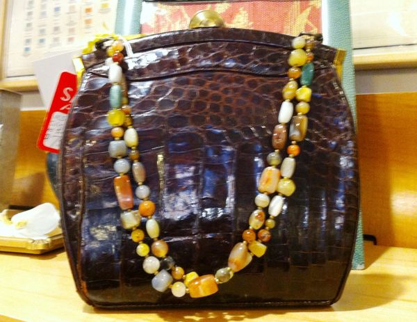 Alligator Purse In Brown With Beaded Straps, Vintage