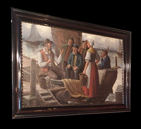 Framed Harborside Colonial Style Painting by C. Duxa 1916