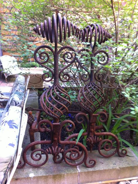 Arts & Crafts Antique Hand Forged Unique Andirons