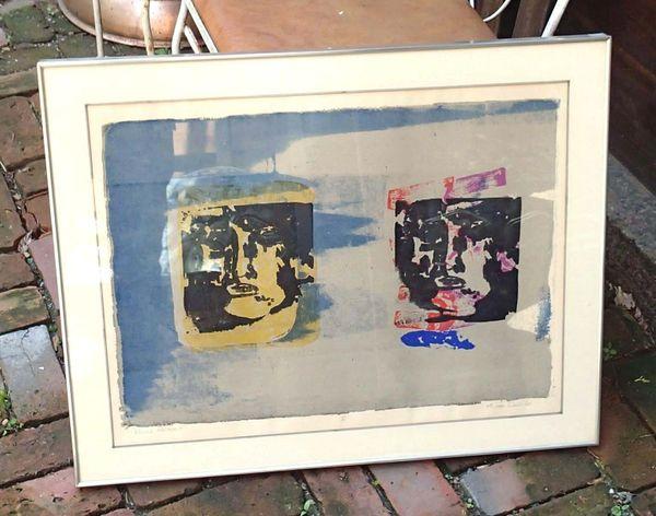 """Framed Michael Sens Signed Lithograph Print """"Double Portrait"""" 1968"""