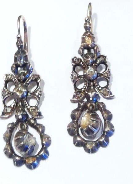 18th Century Edwardian Antique Hand Made Rose Cut Diamond Earrings in Sterling, Worn Two Ways!
