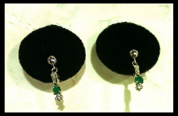 Petite Platinum, Diamond and Emerald Earrings