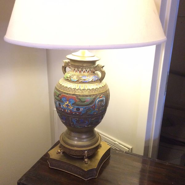 1930's Antique Champleve Urn Shaped Lamp Inlaid w/ Semi-Precious Stones, Brass Detailing