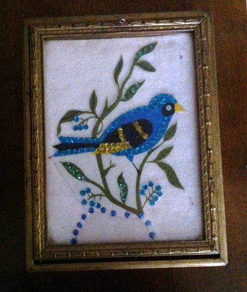 Jewelry Box with Hand Crafted Blue Bird Applique, Vintage