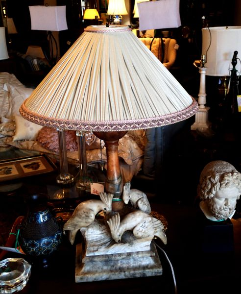 1920's Antique Hand Carved Alabaster Lamp w/Cockatoos and Custom Silk Shade