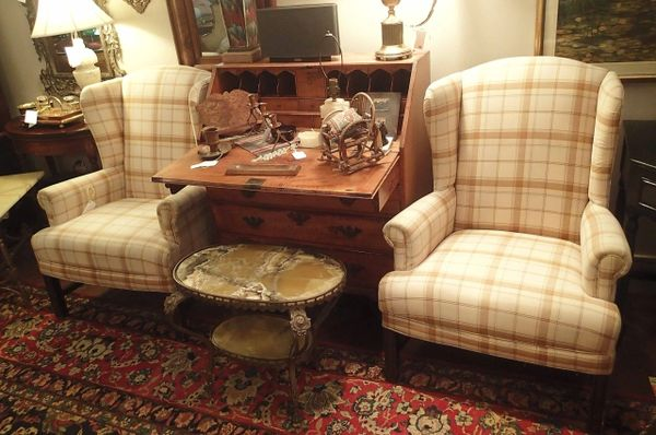 Pair of Vintage Plaid Wingback Chairs
