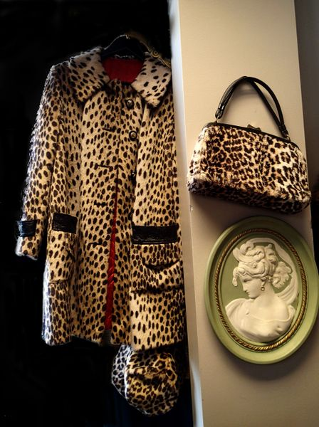 Vintage Women's Lord and Taylor Faux Leopard Coat w/Matching Hat and Purse