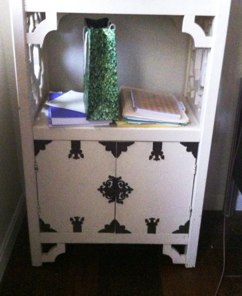 Hollywood Regency Solid Oak Buttercream Painted Wall Unit, 3 Shelves, Bottom Cabinet
